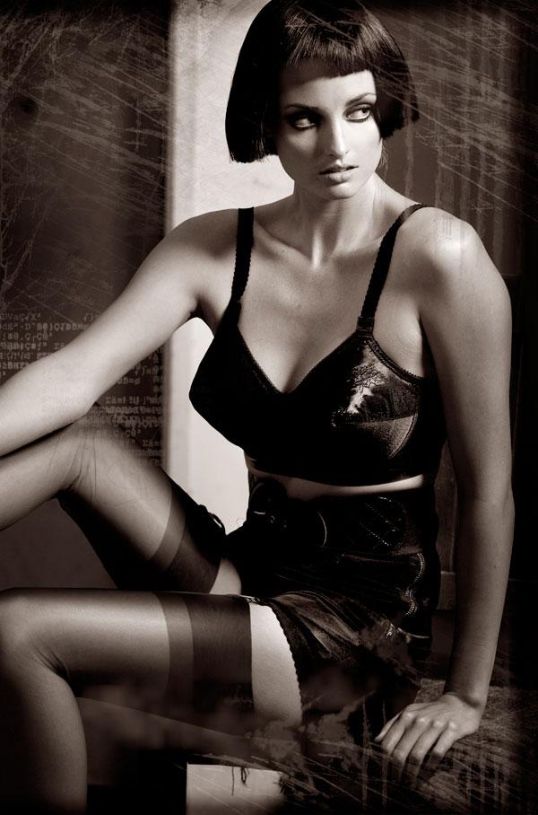 girl in retro lingerie