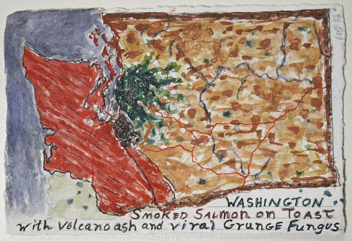 Washington Smoked Salmon on Toast with volcano ash and viral Grunge fungus 2009