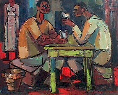 Fishermen drinking - SOLD
