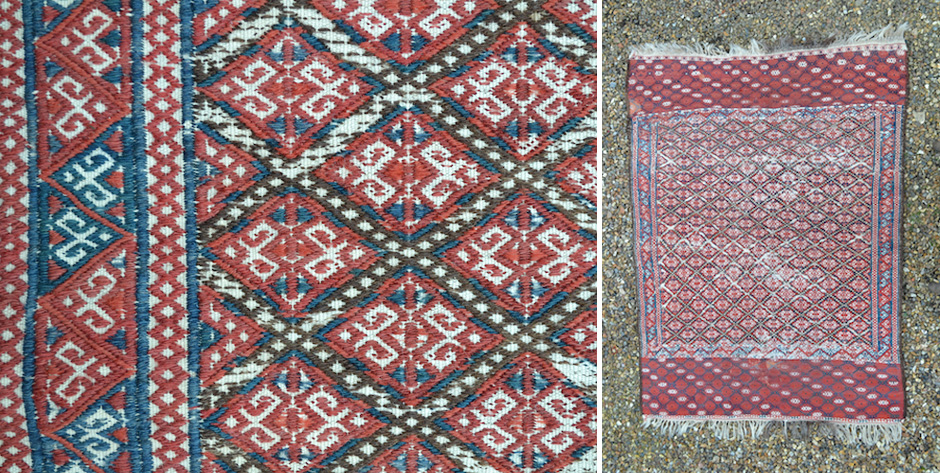 Turkmenistan small flatweave rug in supplementary pattern wefting • possibly Yomut • circa 1900
