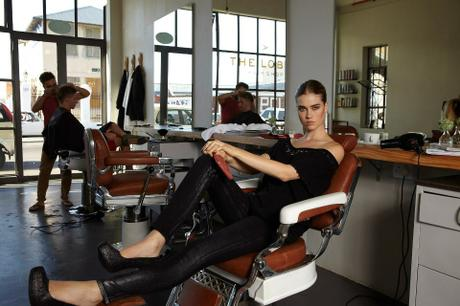 Ladies in Barber Shop Chair