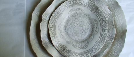 1.14  Earthenware side plate, dinner plate and platter with lace texture.