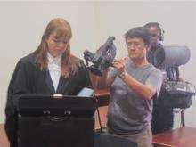 Lisa with director/camerawoman Hanne Koster and soundman Jabu Msomi