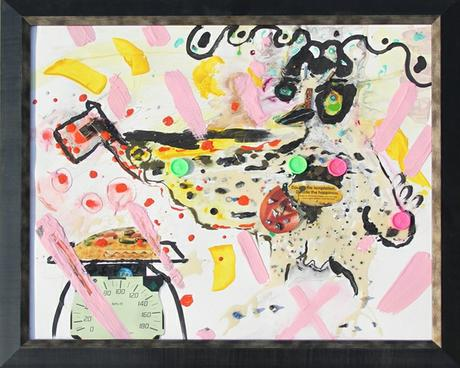 thumbnail for Chicken Wallah #3, recyclable objects, acrylic paint and oil pastel on 20 x 28