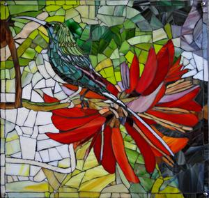 Glass mosaic mural of Sunbird & Coral Tree on Superboard   SOLD for R3000