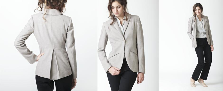 Grey Tailored Jacket in Wool with Tailored Ladies Trousers and Grey Viscose Blouse; Lo, Winter 2011