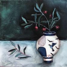 Blue pot with olive branch
