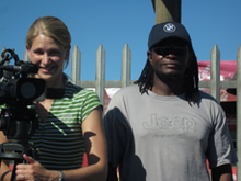 Director of Photography Karen Landsberg with Sound Recordist Jabu Msomi in Khayelitsha