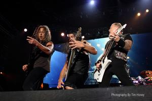 Kirk Hammett, Robert Trujillo and James Hetfield. Metallica at Bellville Velodrome, CT 2013 [34011]
