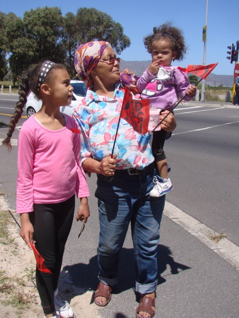 Grassy Park resident Yvonne Adams (72) with Harper Halford (1) and Phoebe Edwards (8)