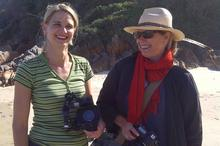 Camerawoman Karen Landsberg with Alix on Noetzie Beach