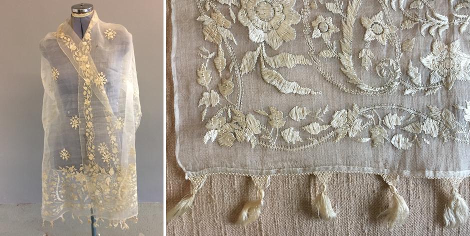 Turkish fine Organza silk embroidered stole • 19th C