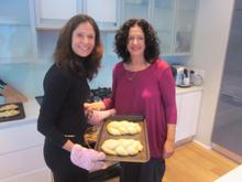 Esther and show presenter Lisa Chait prepare for the sabbath