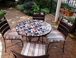 Leaf & Flower glass mosaic wrought iron table & chairs. SOLD for R24,000.00