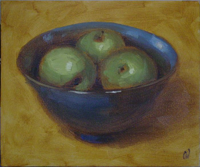 Three Apples in a Bowl