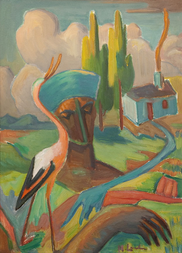 Maggie Laubser: Bird, head and house in a landscape - SOLD