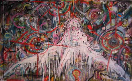 thumbnail for Frosted Octopus Flyover, mixed media collage on 56 x 36