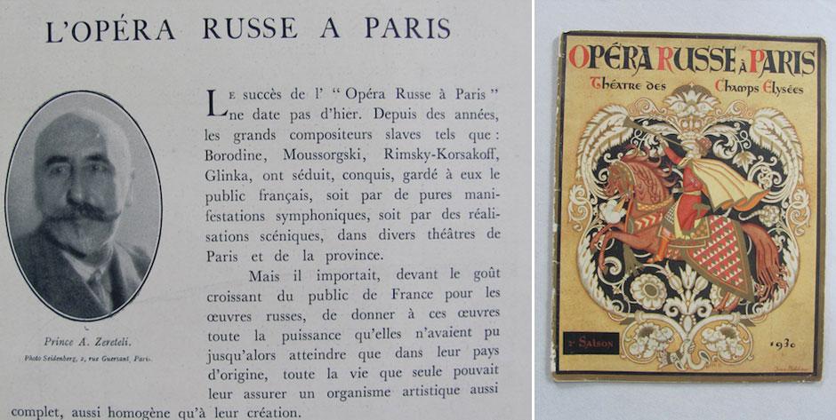 OPERA RUSSE á PARIS, Théatre des Champs Elyséas, programme for Prince Igor 1930 • £100 / US$160