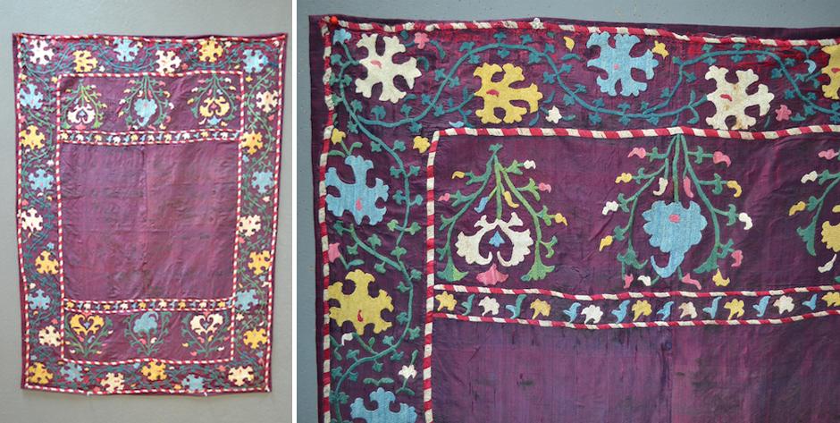 S. Uzbekistan Suzani type embroidery on purple silk ground • 19th cent