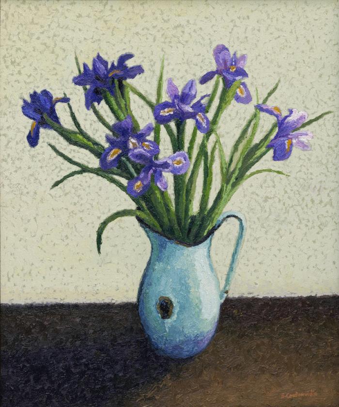 Irises in enamel jug
