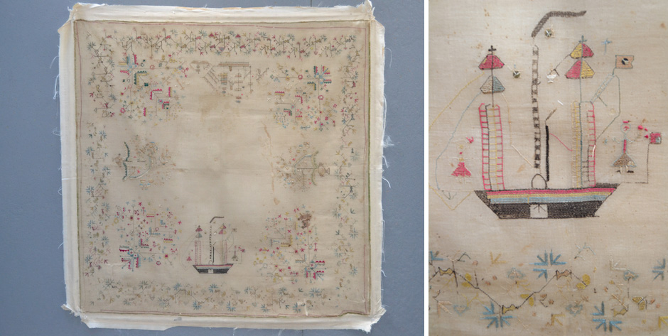 Greek  Ionian Island embroidery depicting shipping • circa 1850