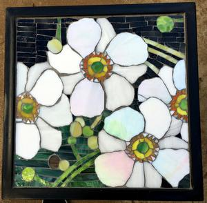 Japanese Anemone glass mosaic on square  wrought iron table.   SOLD for R2000