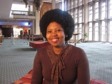 Nonhlanhla Yende speaks to us in the foyer of Artscape in Cape Town