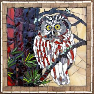 Small glass mosaic mural of owl. SOLD for R700