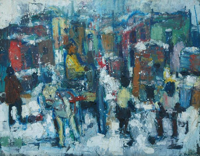 Snow scene, township - SOLD