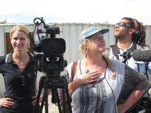 Karen Landsberg (camera), Lauren Groenewald (director) & Juan Kindo (sound) pondering ...