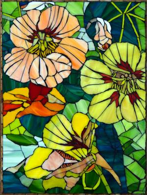Glass Mosaic Nasturtium Wall Mural on superboard. SOLD for R2000