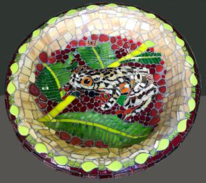 Leopard frog birdbath glass and ceramic mosaic on concrete. R1700.00