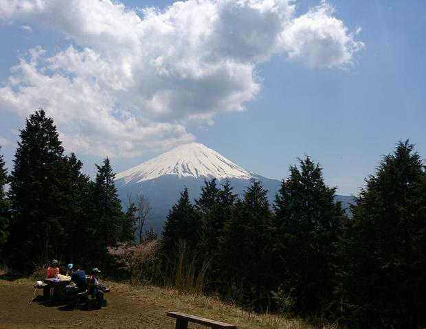 View of Mount Fuji from the top of Ashiwada peak