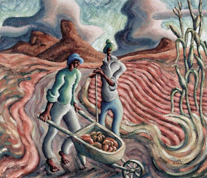 Landscape with farm workers