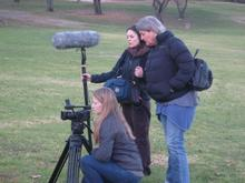 The team filming Lindi at Zoo Lake