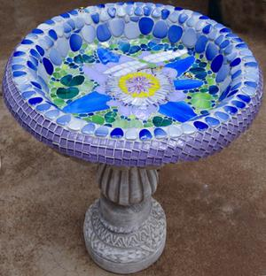 Ceramic & glass waterlily mosaic on concrete birdbath. SOLD for R1600