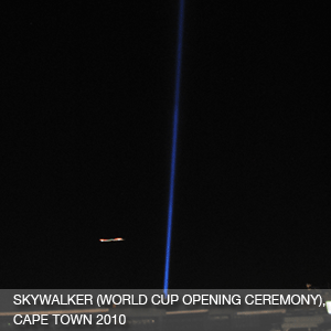 Skywalker (10 KW full colour searchlights on 360° programmed robotic moving heads)