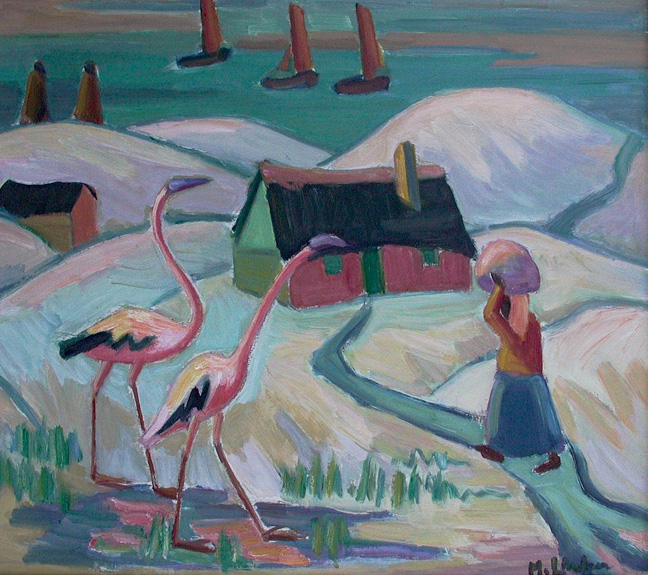 Landscape with houses, figure, boats and birds - SOLD