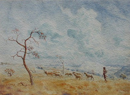 Shepherd with sheep - SOLD