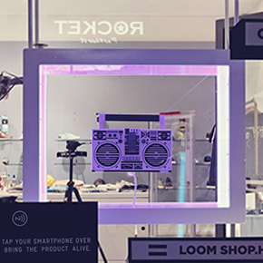 Interactive display - turn on the boombox and play music through your phone