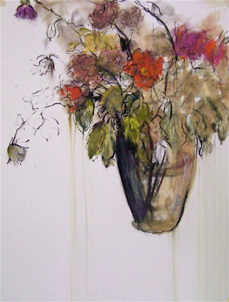 Flowers in glass vase, with drips