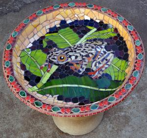Leopard Frog mostly glass mosaic birdbath.   SOLD for R1600