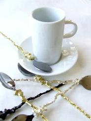 QUEEN PALM TEA +COFFEE SPOONS. SILVER, BRASS, COPPER + BRONZE FINISH.