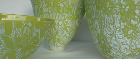 1.1 Green earthenware bowls with glazed lace.
