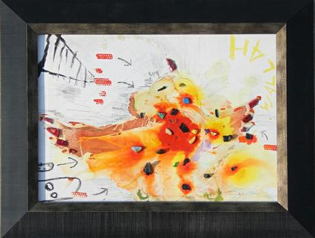thumbnail for Chicken Wallah #1, recyclable objects with acrylic paint and oil pastel on 11 x 14