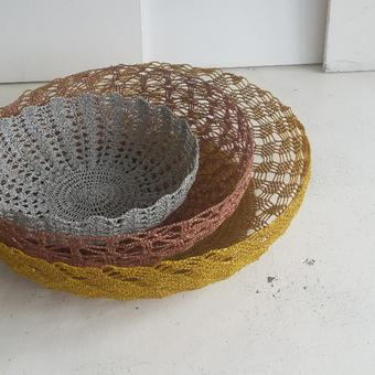 thumbnail for 500mm wide in pale grey Urchin stitch, 650mm wide basket in copper Glass stitch, and 800mm w