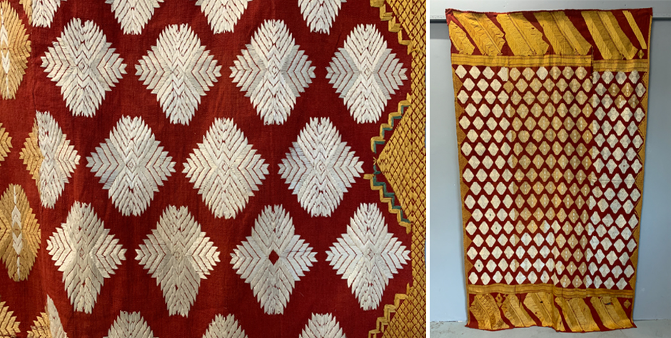 Indian pulkari floss silk embroidered shawl • circa 1900