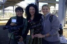 `Hanne Koster (director). Lisa Chait (show host/co-producer) & Karen Landsberg ( camerawoman)