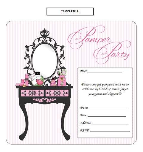 Sparkle Pamper Parties - Invitation Templates