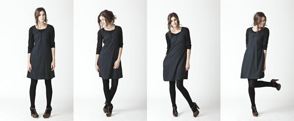 Charcoal Viscose Dress with Elastics on back and Antique Glass Button Detail; Lo, Autumn/Winter 2011